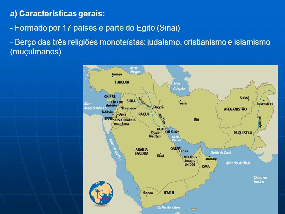 a) Características gerais: - - Formado por 17 países e parte do Egito (Sinai) - - Berço das três religiões monoteístas: judaísmo, cristianismo e islam