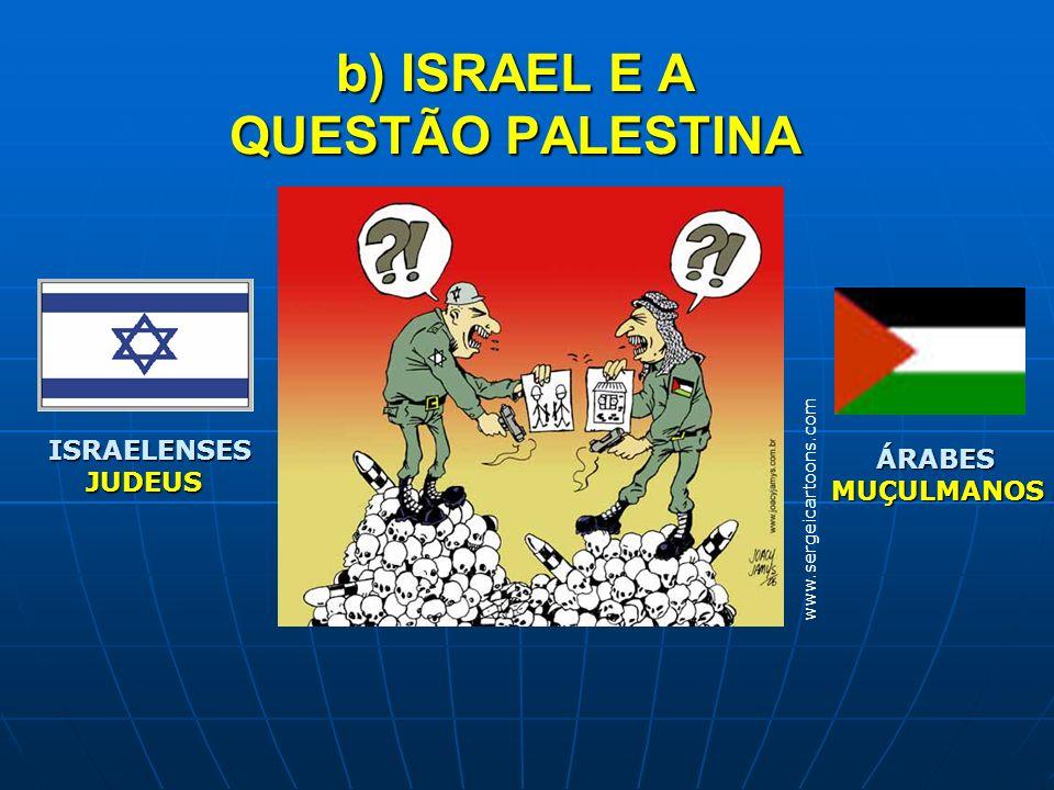 b) ISRAEL E A QUESTÃO PALESTINA www.sergeicartoons.com ISRAELENSES JUDEUS ÁRABES ÁRABESMUÇULMANOS