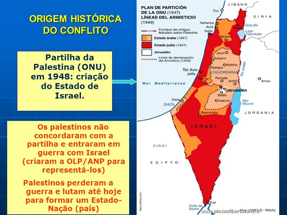 ORIGEM HISTÓRICA DO CONFLITO Partilha da Palestina (ONU) em 1948: criação do Estado de Israel. www.piazzaliberazione.it Os palestinos não concordaram