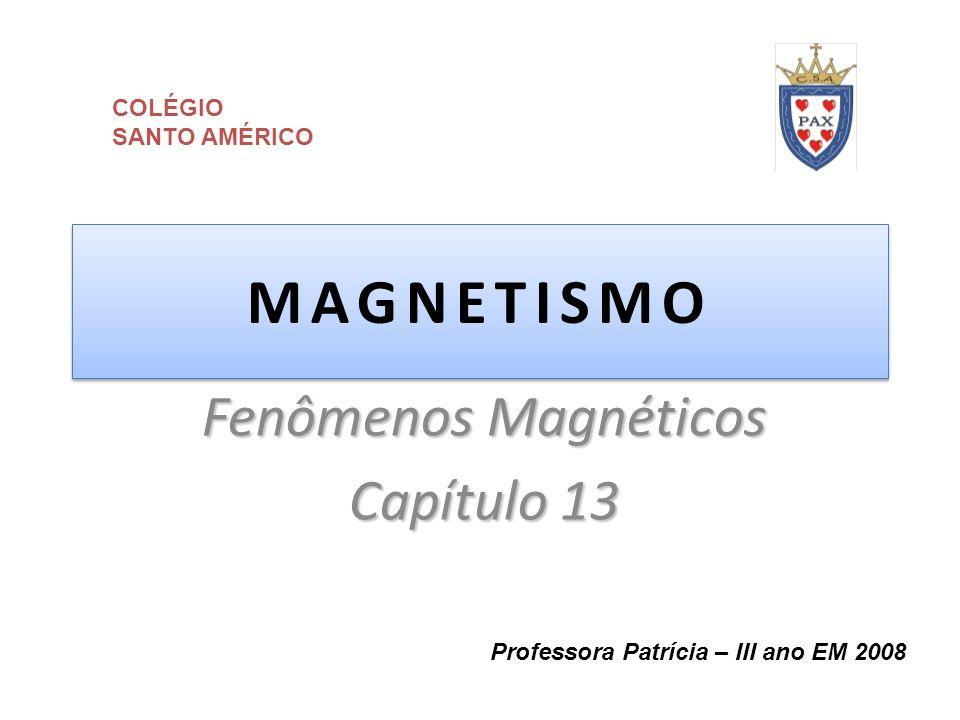 MAGNETISMO Fenômenos Magnéticos Capítulo 13 Professora Patrícia – III ano EM 2008 COLÉGIO SANTO AMÉRICO