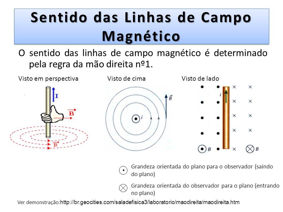 Sentido das Linhas de Campo Magnético O sentido das linhas de campo magnético é determinado pela regra da mão direita nº1. Ver demonstração: http://br