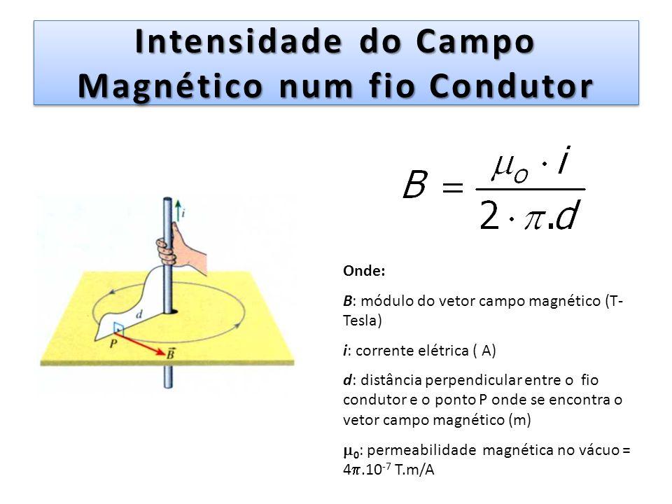 Intensidade do Campo Magnético num fio Condutor Onde: B: módulo do vetor campo magnético (T- Tesla) i: corrente elétrica ( A) d: distância perpendicul