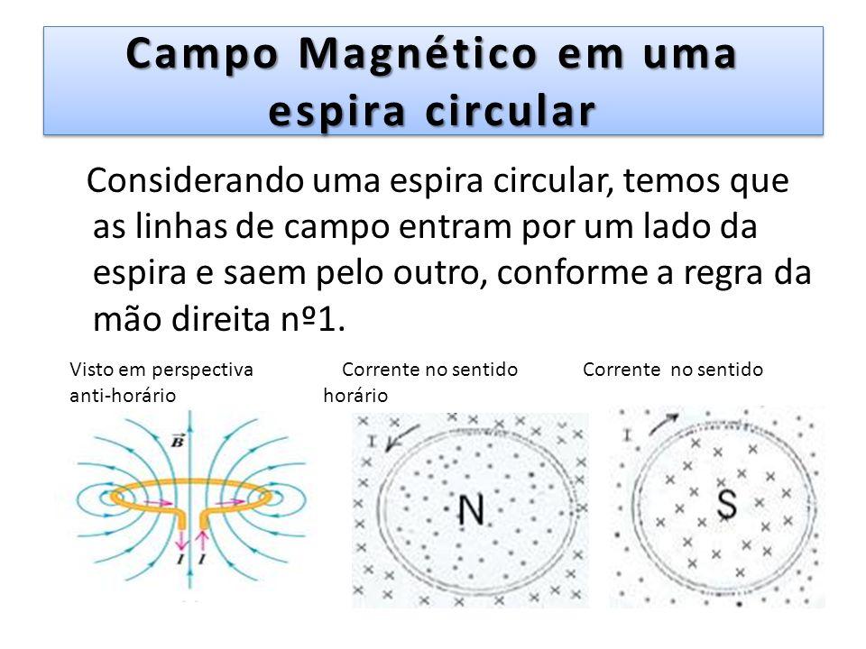 Campo Magnético em uma espira circular Considerando uma espira circular, temos que as linhas de campo entram por um lado da espira e saem pelo outro,