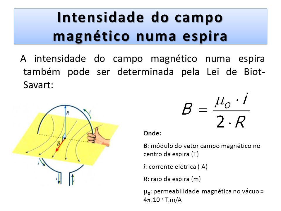 Intensidade do campo magnético numa espira A intensidade do campo magnético numa espira também pode ser determinada pela Lei de Biot- Savart: Onde: B:
