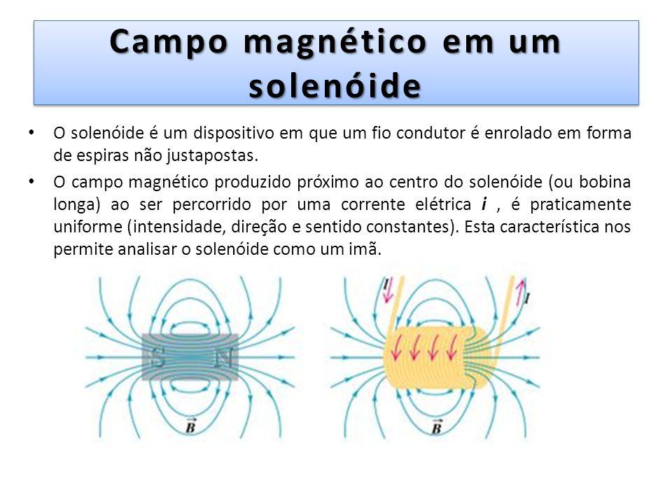 Campo magnético em um solenóide O solenóide é um dispositivo em que um fio condutor é enrolado em forma de espiras não justapostas. O campo magnético