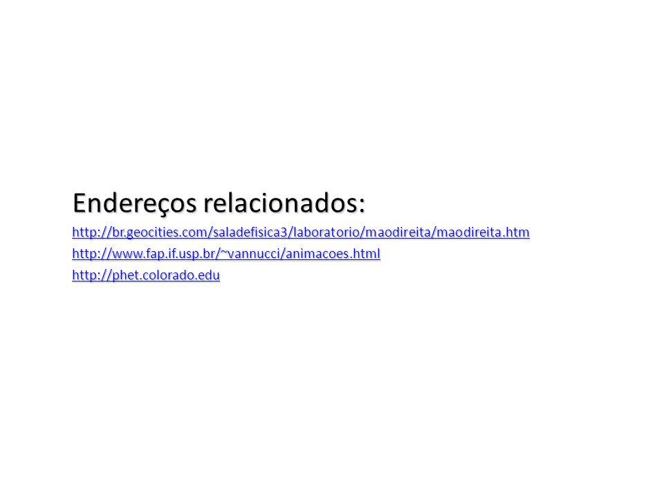 Endereços relacionados: http://br.geocities.com/saladefisica3/laboratorio/maodireita/maodireita.htm http://www.fap.if.usp.br/~vannucci/animacoes.html