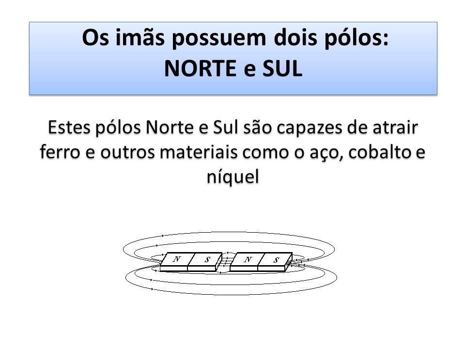 Os imãs possuem dois pólos: NORTE e SUL Estes pólos Norte e Sul são capazes de atrair ferro e outros materiais como o aço, cobalto e níquel