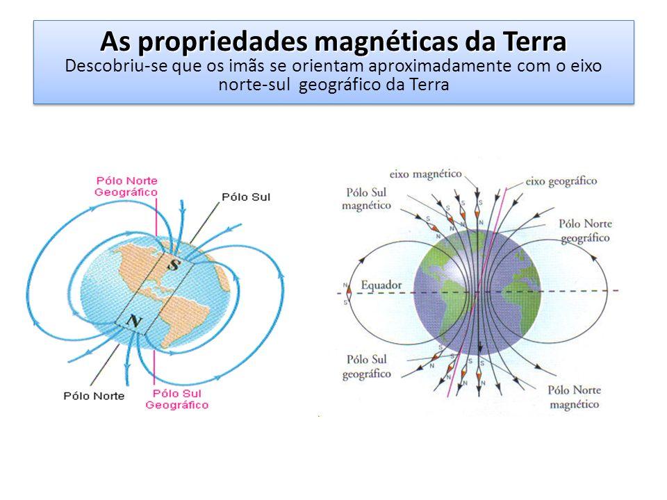 As propriedades magnéticas da Terra As propriedades magnéticas da Terra Descobriu-se que os imãs se orientam aproximadamente com o eixo norte-sul geog