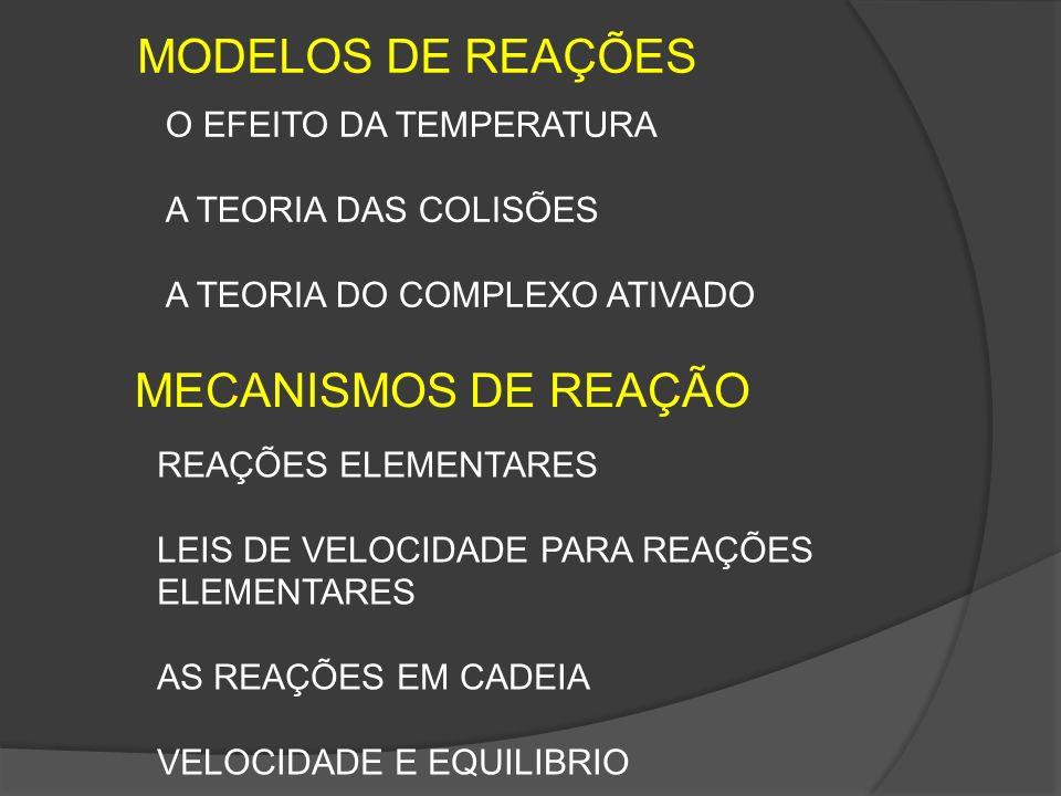 MODELOS DE REAÇÕES O EFEITO DA TEMPERATURA A TEORIA DAS COLISÕES A TEORIA DO COMPLEXO ATIVADO MECANISMOS DE REAÇÃO REAÇÕES ELEMENTARES LEIS DE VELOCID