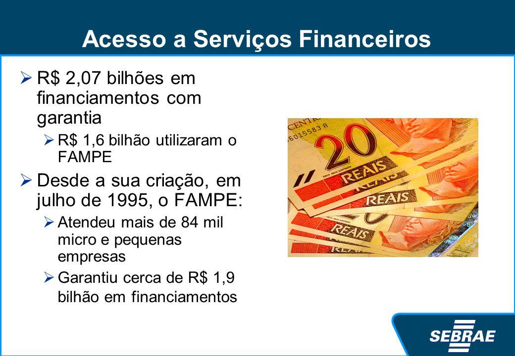 Acesso a Serviços Financeiros R$ 2,07 bilhões em financiamentos com garantia R$ 1,6 bilhão utilizaram o FAMPE Desde a sua criação, em julho de 1995, o