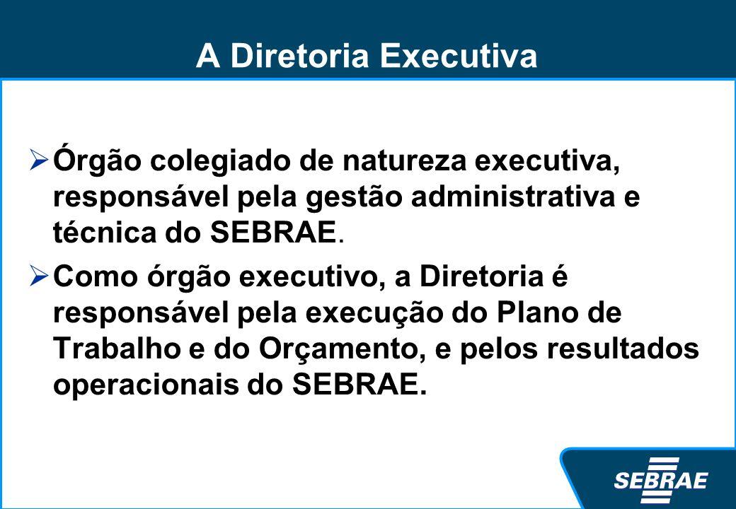 A Diretoria Executiva Órgão colegiado de natureza executiva, responsável pela gestão administrativa e técnica do SEBRAE. Como órgão executivo, a Diret