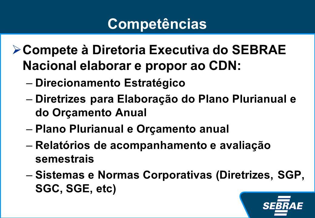 Competências Compete à Diretoria Executiva do SEBRAE Nacional elaborar e propor ao CDN: –Direcionamento Estratégico –Diretrizes para Elaboração do Pla