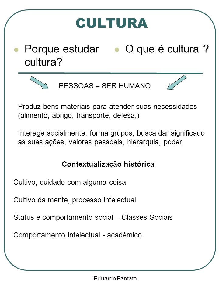 Eduardo Fantato CULTURA Porque estudar cultura? O que é cultura ? PESSOAS – SER HUMANO Produz bens materiais para atender suas necessidades (alimento,