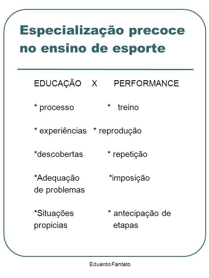 Eduardo Fantato Especialização precoce no ensino de esporte EDUCAÇÃO X PERFORMANCE * processo * treino * experiências * reprodução *descobertas * repe