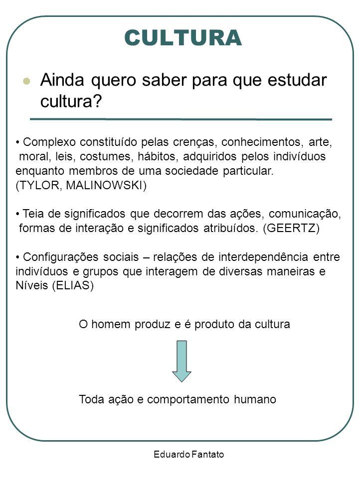 Eduardo Fantato CULTURA Ainda quero saber para que estudar cultura? O homem produz e é produto da cultura Complexo constituído pelas crenças, conhecim