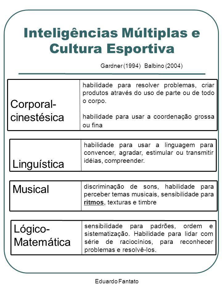 Eduardo Fantato Inteligências Múltiplas e Cultura Esportiva Gardner (1994) Balbino (2004) habilidade para resolver problemas, criar produtos através do uso de parte ou de todo o corpo.