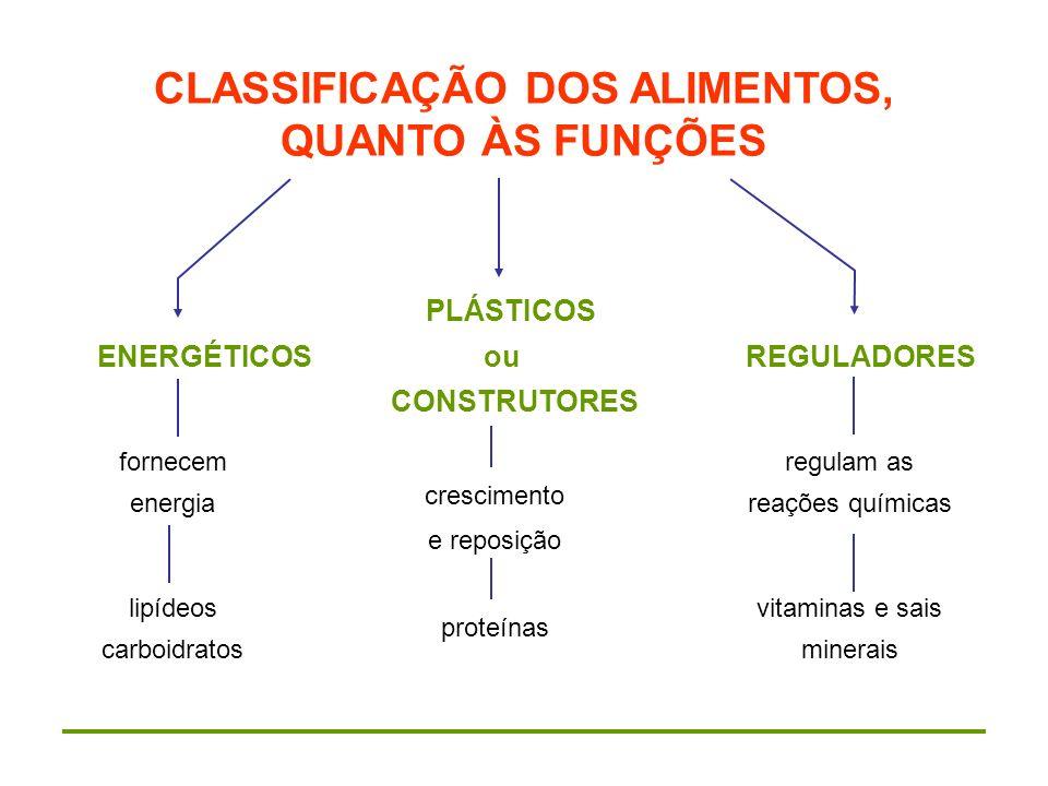 CLASSIFICAÇÃO DOS ALIMENTOS, QUANTO ÀS FUNÇÕES PLÁSTICOS ENERGÉTICOS ou REGULADORES CONSTRUTORES fornecem energia lipídeos carboidratos crescimento e