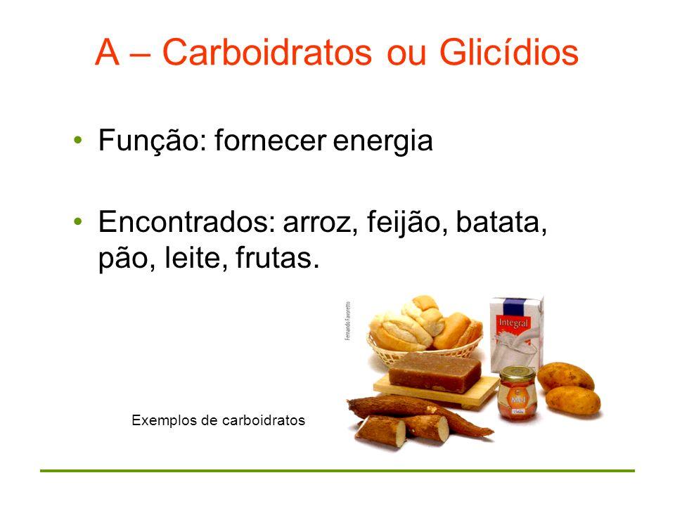 MONOSSACARÍDEOS glicose frutas, cereais, verduras, mel frutose frutas DISSACARÍDEOS sacarose (gli + fru) açúcar da cana lactose : leite gli + gal galactose (leite) CLASSIFICAÇÃO: maltose gli + gli