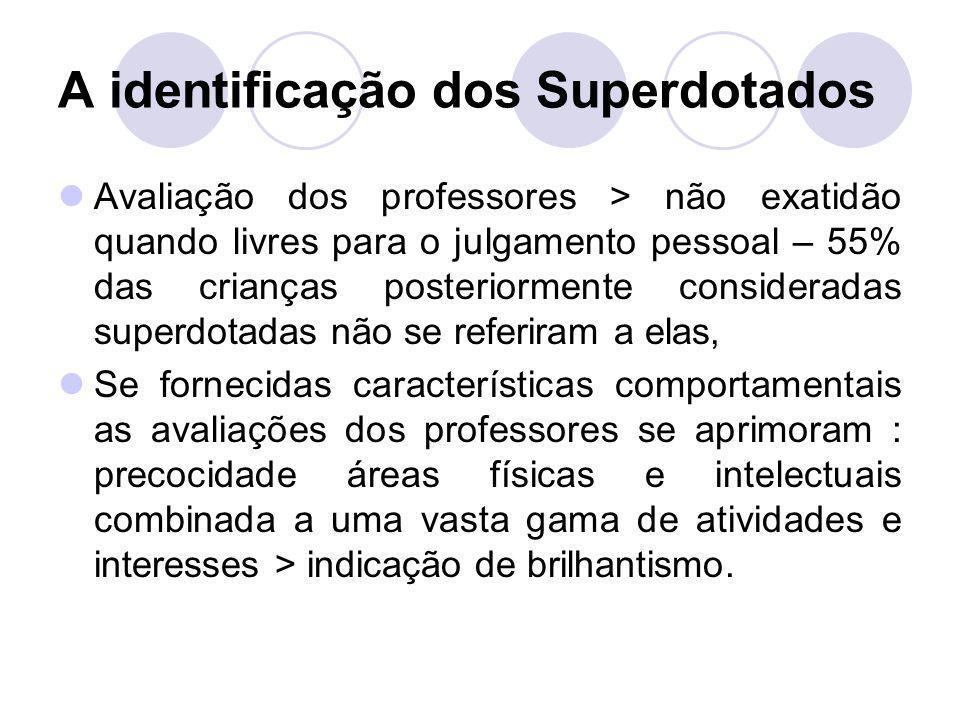 A identificação dos Superdotados Avaliação dos professores > não exatidão quando livres para o julgamento pessoal – 55% das crianças posteriormente co