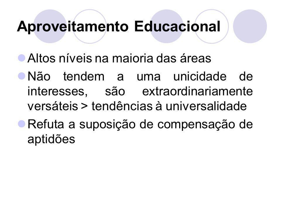 Aproveitamento Educacional Altos níveis na maioria das áreas Não tendem a uma unicidade de interesses, são extraordinariamente versáteis > tendências