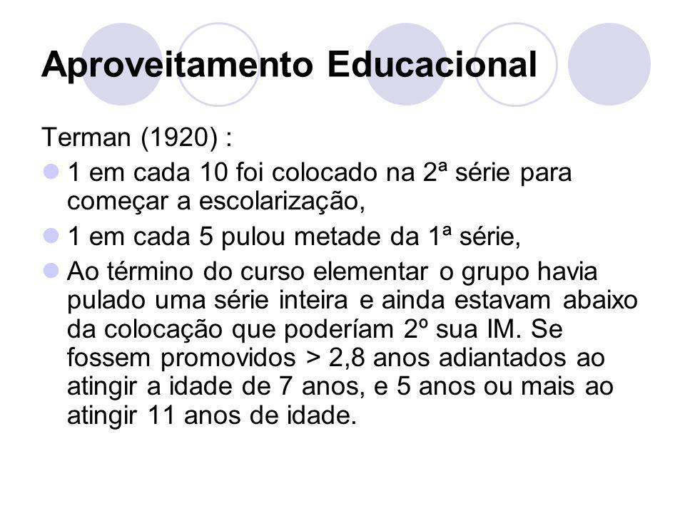 Aproveitamento Educacional Terman (1920) : 1 em cada 10 foi colocado na 2ª série para começar a escolarização, 1 em cada 5 pulou metade da 1ª série, A