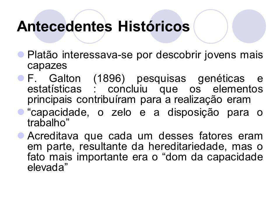 Antecedentes Históricos Platão interessava-se por descobrir jovens mais capazes F. Galton (1896) pesquisas genéticas e estatísticas : concluiu que os