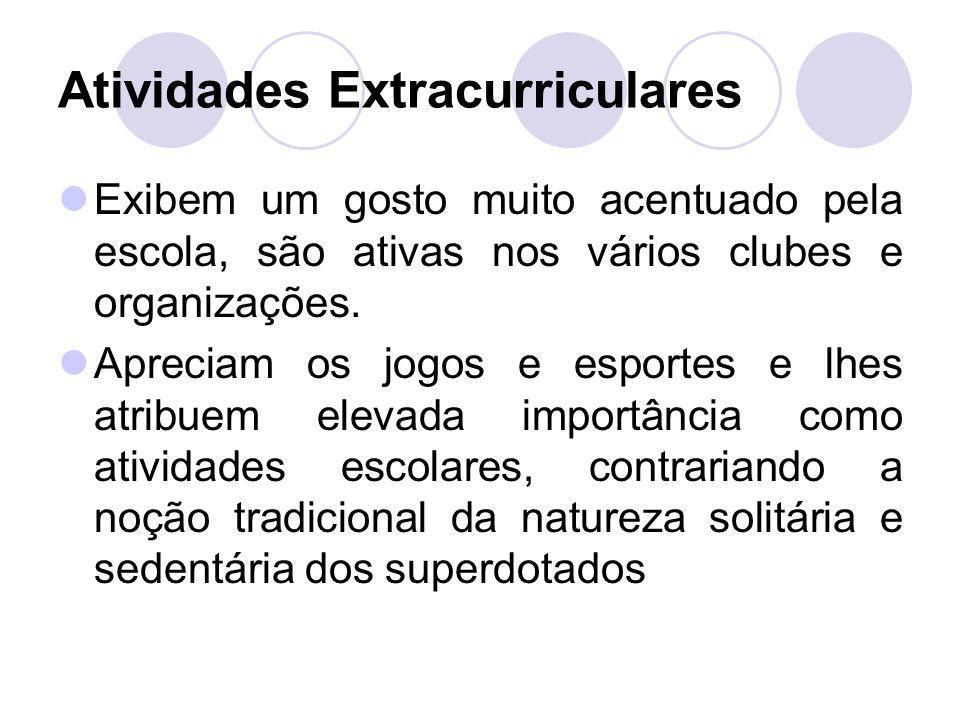 Atividades Extracurriculares Exibem um gosto muito acentuado pela escola, são ativas nos vários clubes e organizações. Apreciam os jogos e esportes e