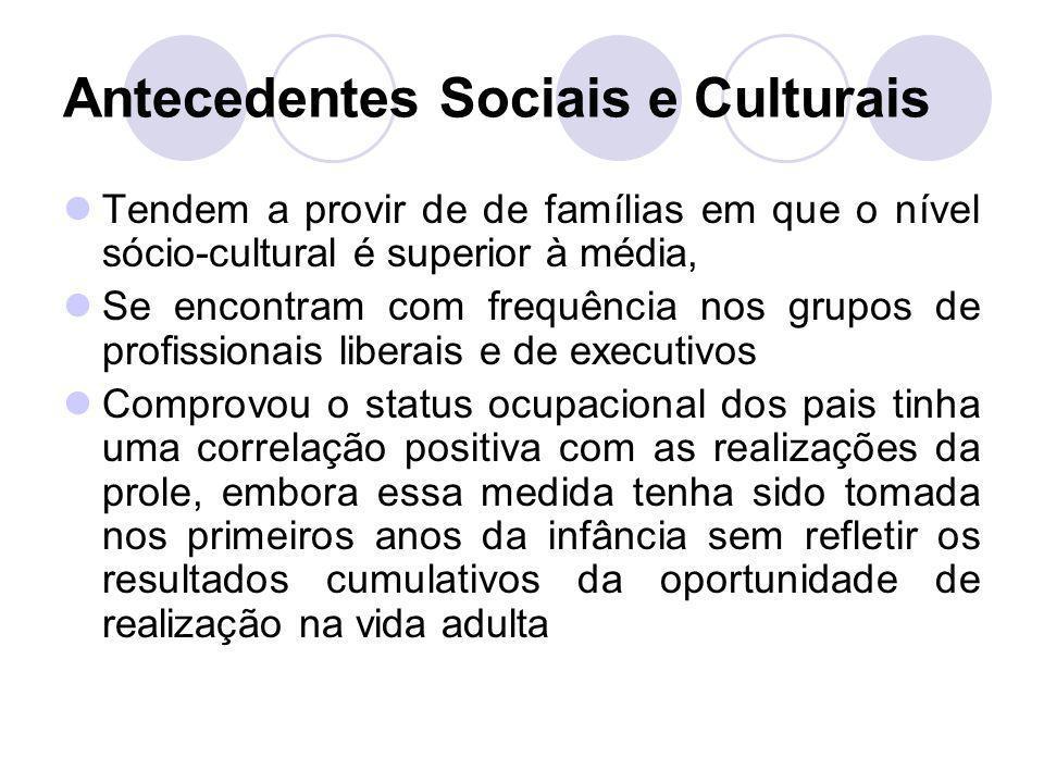 Antecedentes Sociais e Culturais Tendem a provir de de famílias em que o nível sócio-cultural é superior à média, Se encontram com frequência nos grup