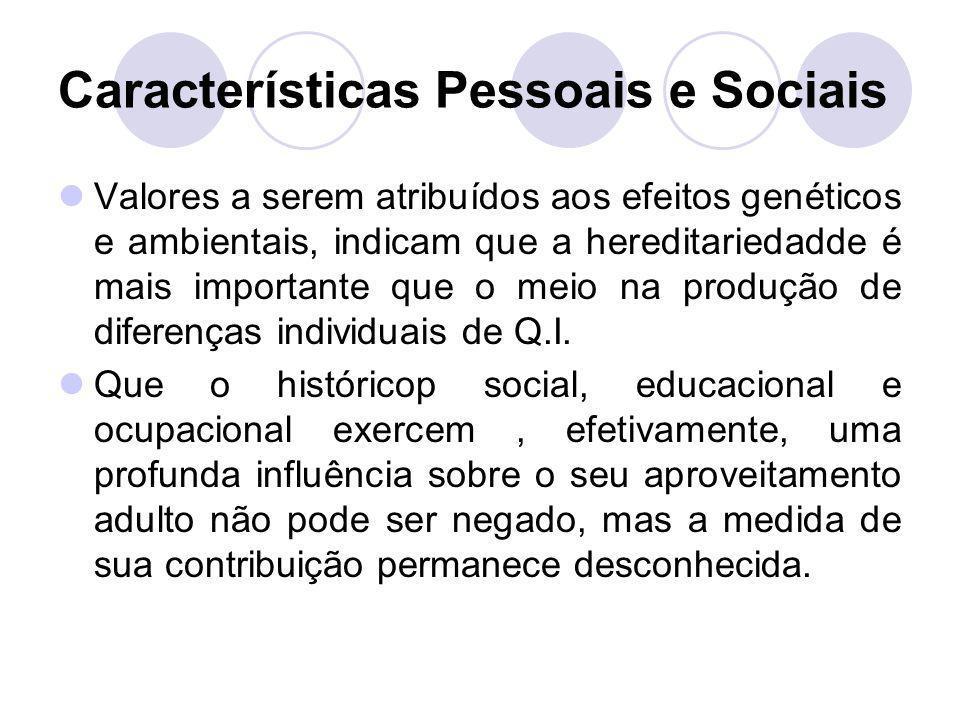Características Pessoais e Sociais Valores a serem atribuídos aos efeitos genéticos e ambientais, indicam que a hereditariedadde é mais importante que