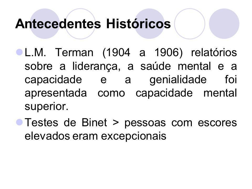 Antecedentes Históricos L.M. Terman (1904 a 1906) relatórios sobre a liderança, a saúde mental e a capacidade e a genialidade foi apresentada como cap
