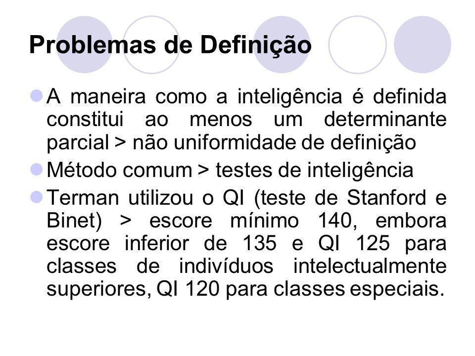 Problemas de Definição A maneira como a inteligência é definida constitui ao menos um determinante parcial > não uniformidade de definição Método comu