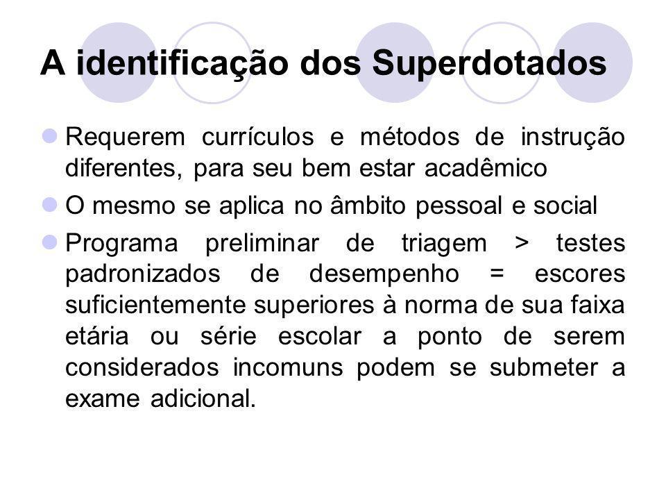 A identificação dos Superdotados Requerem currículos e métodos de instrução diferentes, para seu bem estar acadêmico O mesmo se aplica no âmbito pesso