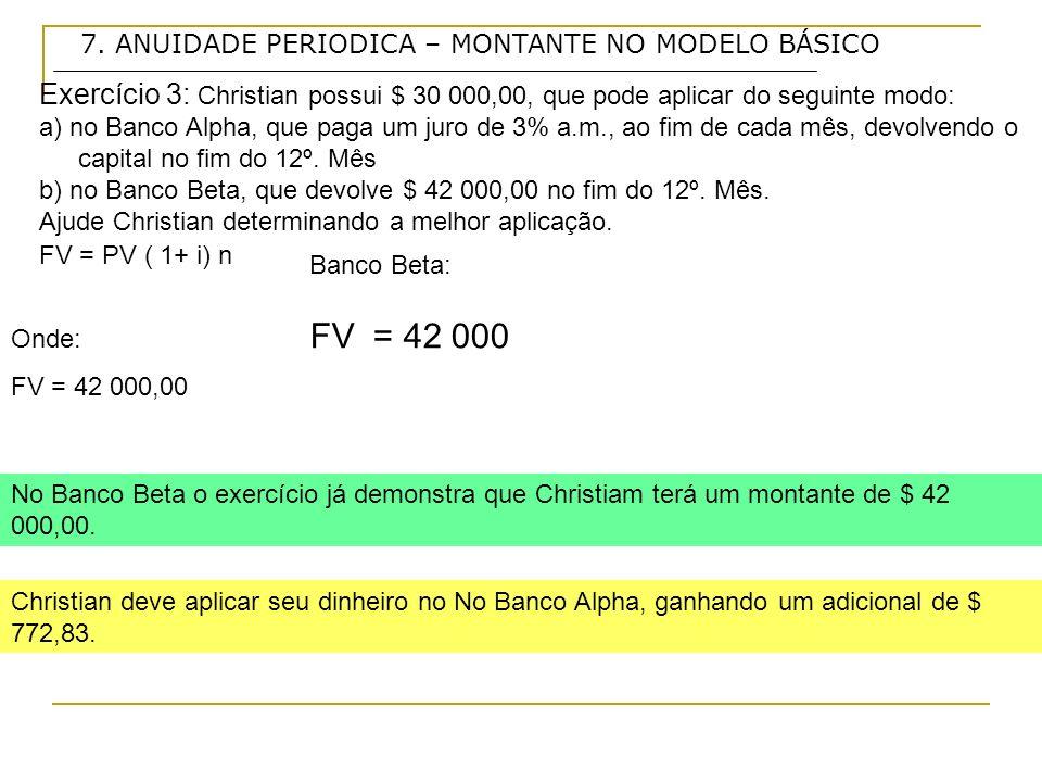 Exercício 3: Christian possui $ 30 000,00, que pode aplicar do seguinte modo: a) no Banco Alpha, que paga um juro de 3% a.m., ao fim de cada mês, devolvendo o capital no fim do 12º.