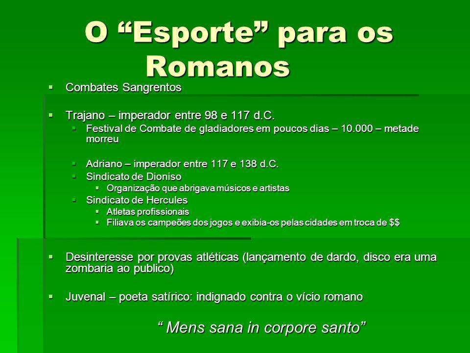 O Esporte para os Romanos Combates Sangrentos Combates Sangrentos Trajano – imperador entre 98 e 117 d.C. Trajano – imperador entre 98 e 117 d.C. Fest