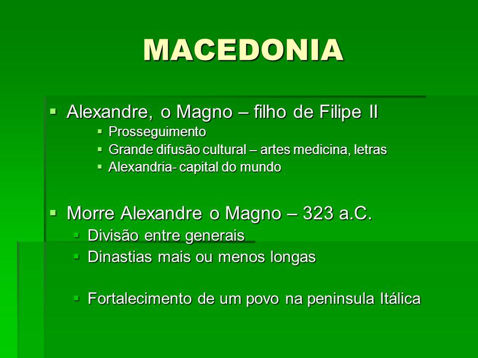 MACEDONIA Alexandre, o Magno – filho de Filipe II Alexandre, o Magno – filho de Filipe II Prosseguimento Prosseguimento Grande difusão cultural – arte