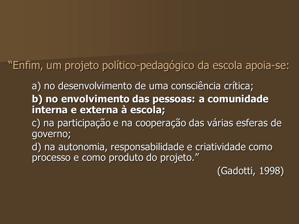 a) no desenvolvimento de uma consciência crítica; b) no envolvimento das pessoas: a comunidade interna e externa à escola; c) na participação e na coo