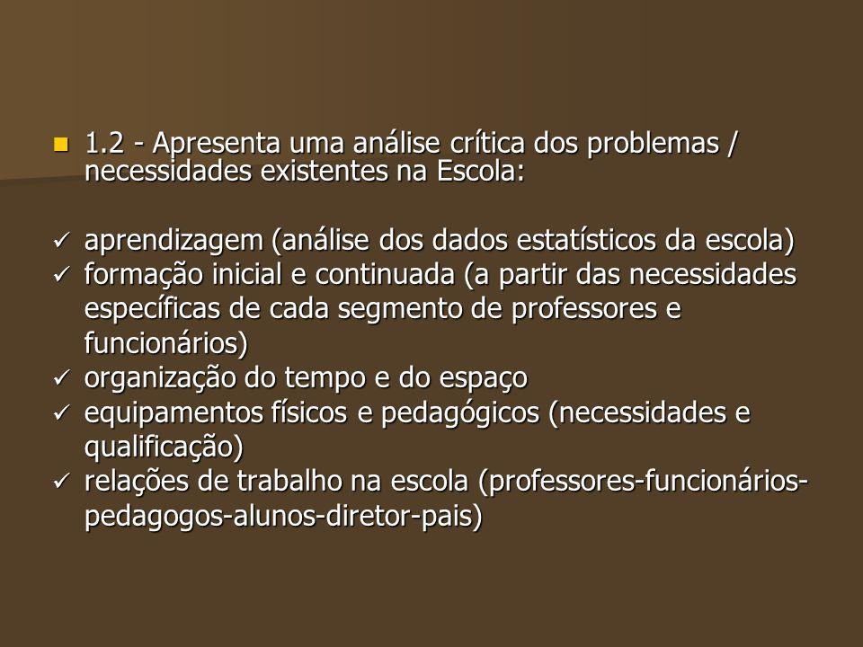 1.2 - Apresenta uma análise crítica dos problemas / necessidades existentes na Escola: 1.2 - Apresenta uma análise crítica dos problemas / necessidade