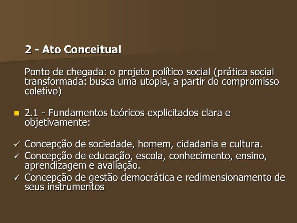 2 - Ato Conceitual Ponto de chegada: o projeto político social (prática social transformada: busca uma utopia, a partir do compromisso coletivo) 2.1 -
