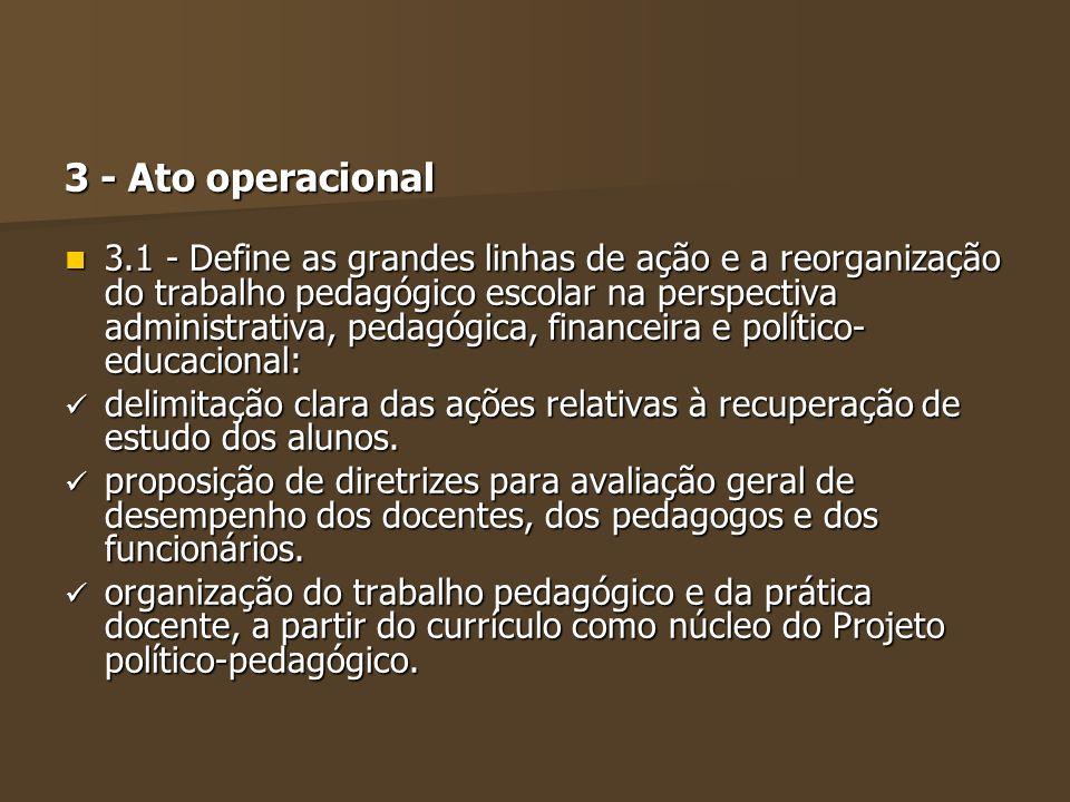 3 - Ato operacional 3.1 - Define as grandes linhas de ação e a reorganização do trabalho pedagógico escolar na perspectiva administrativa, pedagógica,