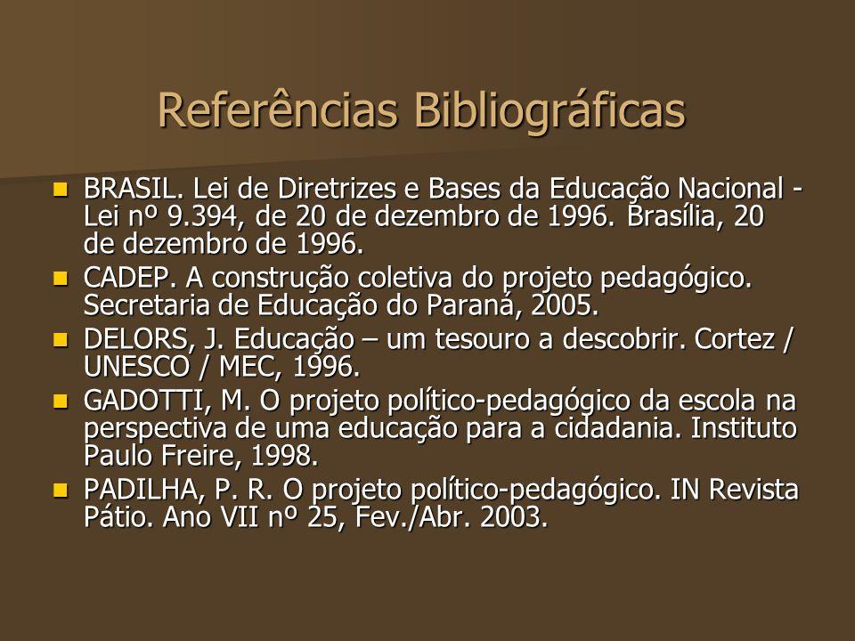 Referências Bibliográficas BRASIL. Lei de Diretrizes e Bases da Educação Nacional - Lei nº 9.394, de 20 de dezembro de 1996. Brasília, 20 de dezembro