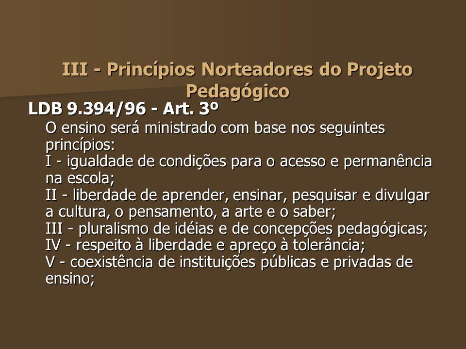 III - Princípios Norteadores do Projeto Pedagógico LDB 9.394/96 - Art. 3º O ensino será ministrado com base nos seguintes princípios: I - igualdade de