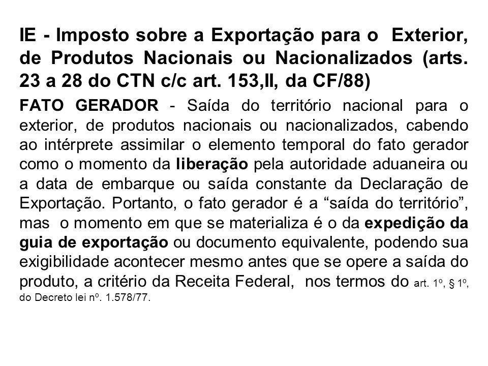 IE - Imposto sobre a Exportação para o Exterior, de Produtos Nacionais ou Nacionalizados (arts. 23 a 28 do CTN c/c art. 153,II, da CF/88) FATO GERADOR