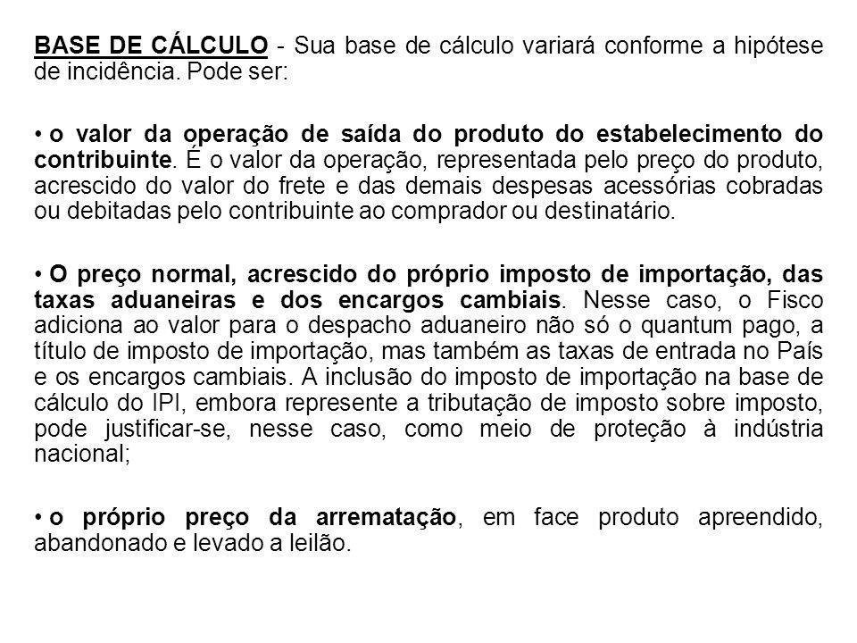 BASE DE CÁLCULO - Sua base de cálculo variará conforme a hipótese de incidência. Pode ser: o valor da operação de saída do produto do estabelecimento