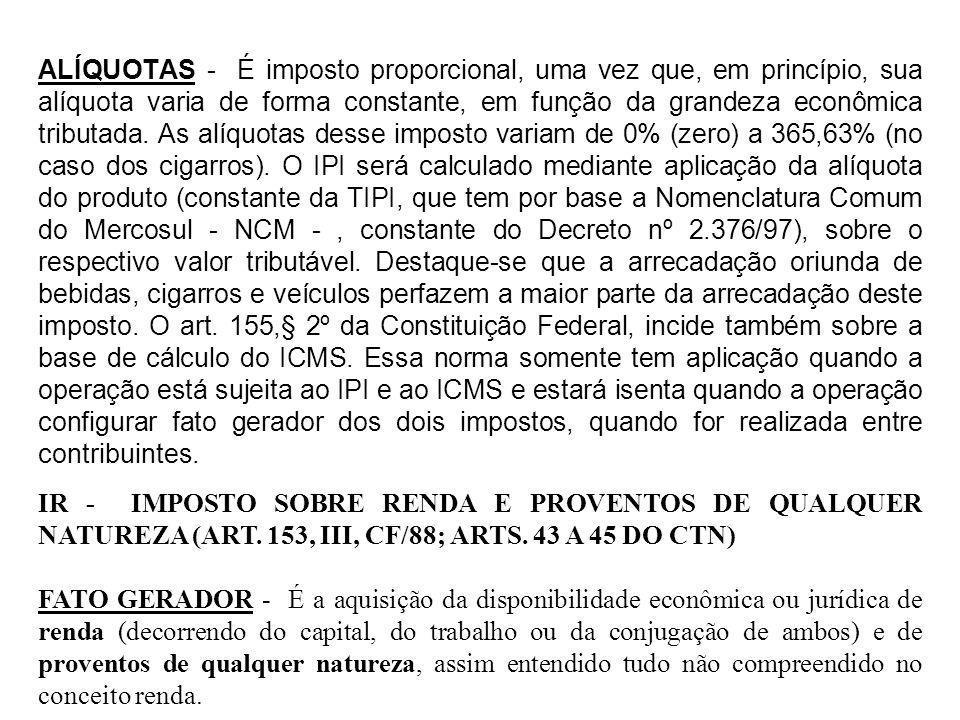 ALÍQUOTAS - É imposto proporcional, uma vez que, em princípio, sua alíquota varia de forma constante, em função da grandeza econômica tributada. As al