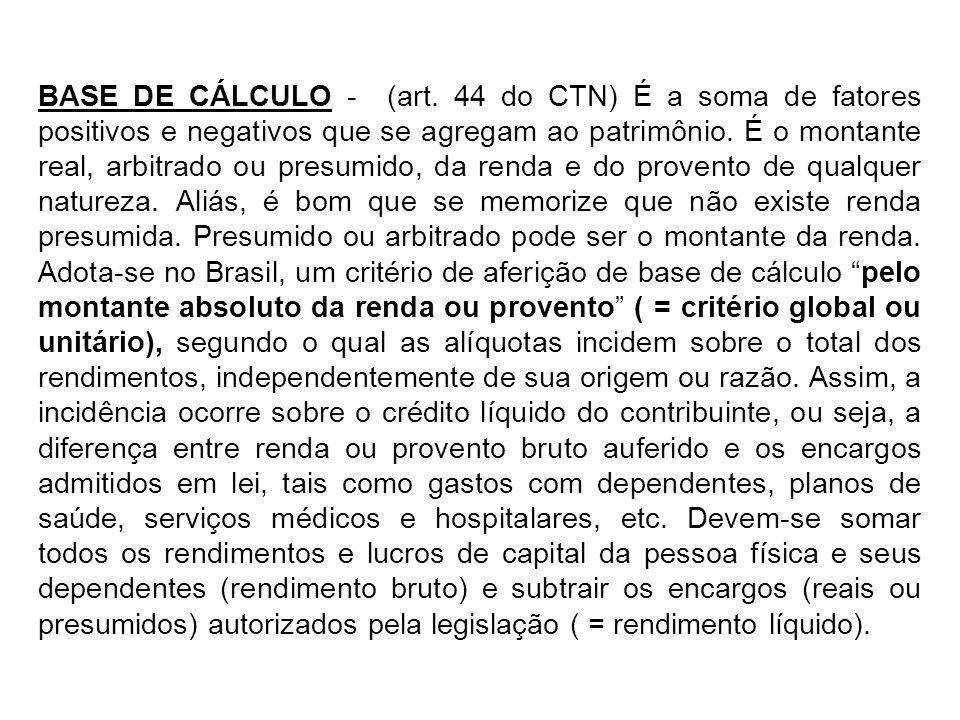 BASE DE CÁLCULO - (art. 44 do CTN) É a soma de fatores positivos e negativos que se agregam ao patrimônio. É o montante real, arbitrado ou presumido,