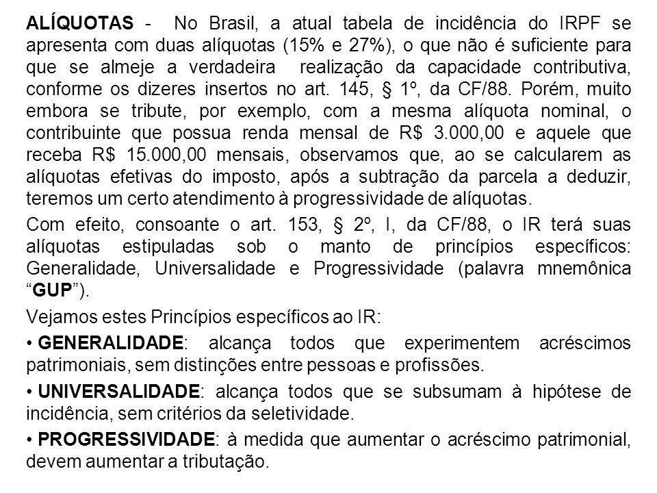 ALÍQUOTAS - No Brasil, a atual tabela de incidência do IRPF se apresenta com duas alíquotas (15% e 27%), o que não é suficiente para que se almeje a v
