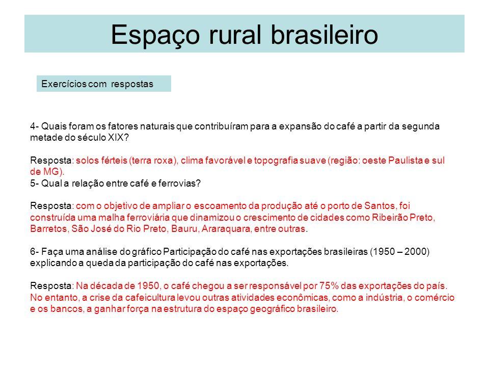 Espaço rural brasileiro 4- Quais foram os fatores naturais que contribuíram para a expansão do café a partir da segunda metade do século XIX.