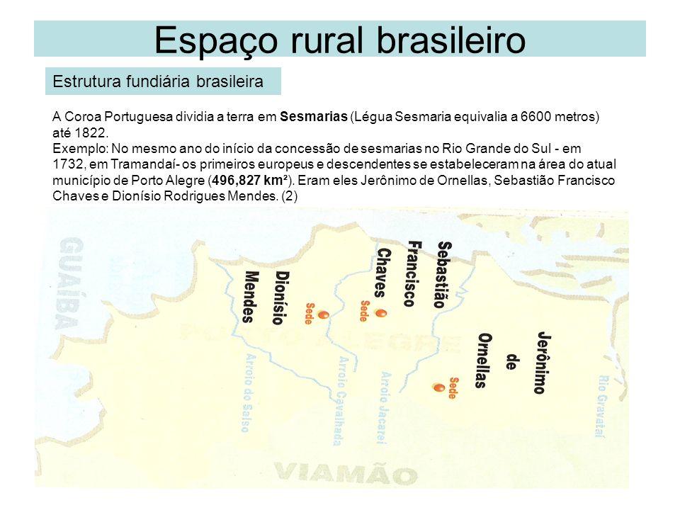 Espaço rural brasileiro De 1822 até 1850 a posse da terra era livre.
