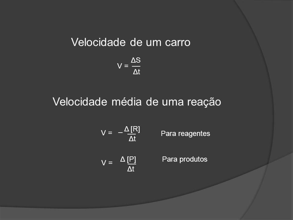 ΔSΔS Δt Δt __ V = Velocidade de um carro Velocidade média de uma reação _ Δ [R] Δt Δt __ V = Para reagentes Δ [P] Δt Δt __ V = Para produtos