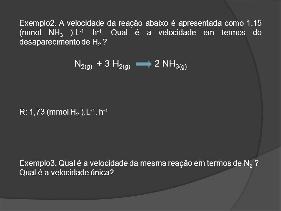 Exemplo2. A velocidade da reação abaixo é apresentada como 1,15 (mmol NH 3 ).L -1.h -1.